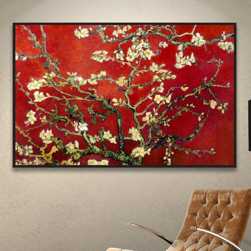 World Menagerie 'interpretation In Red Almond Blossom'vincent In Almond Blossoms Vincent Van Gogh Wall Art (Image 20 of 20)