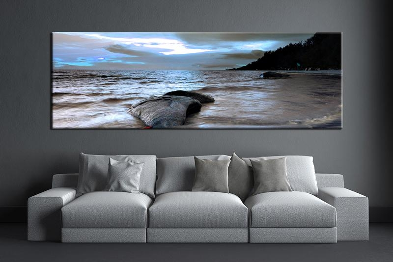 1 Piece Grey Canvas Ocean Wall Decor | Artwork | Pinterest With Regard To Panoramic Canvas Wall Art (Image 1 of 20)