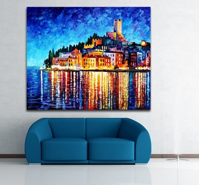 100% Hand Painted European Cities Greece Italy Architecture Art Regarding Greece Canvas Wall Art (Image 1 of 20)