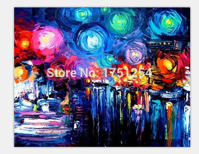 100% Hand Painted Masters Starry Night Vincent Van Gogh Oil Intended For Masters Canvas Wall Art (View 20 of 20)