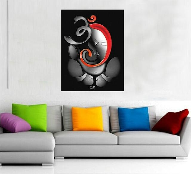 100% Hand Painted Om Ganesha Ganpati Oil Painting On Canvas For Abstract Ganesha Wall Art (Image 1 of 20)