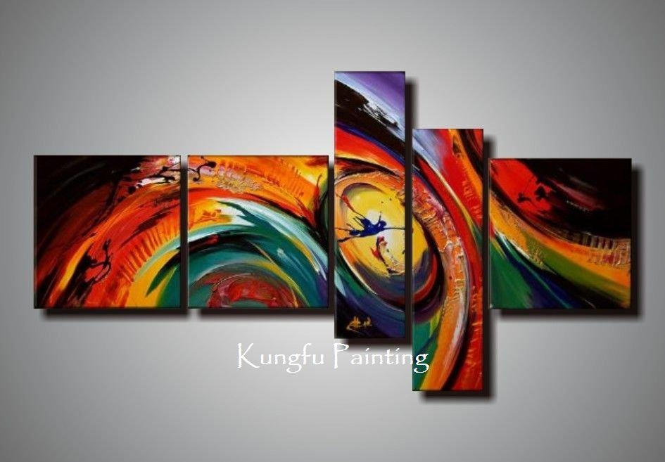 100% Hand Painted Unframed Abstract 5 Panel Canvas Art Living Room Regarding Abstract Wall Art Living Room (Image 2 of 20)