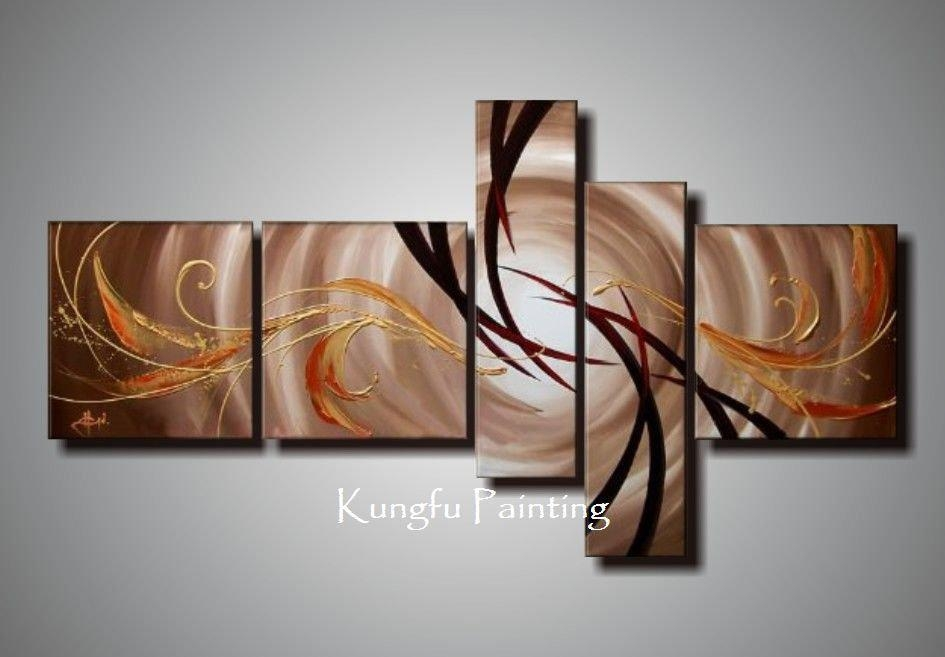100% Hand Painted Unframed Abstract 5 Panel Canvas Art Living Room Regarding Happiness Abstract Wall Art (Image 1 of 20)