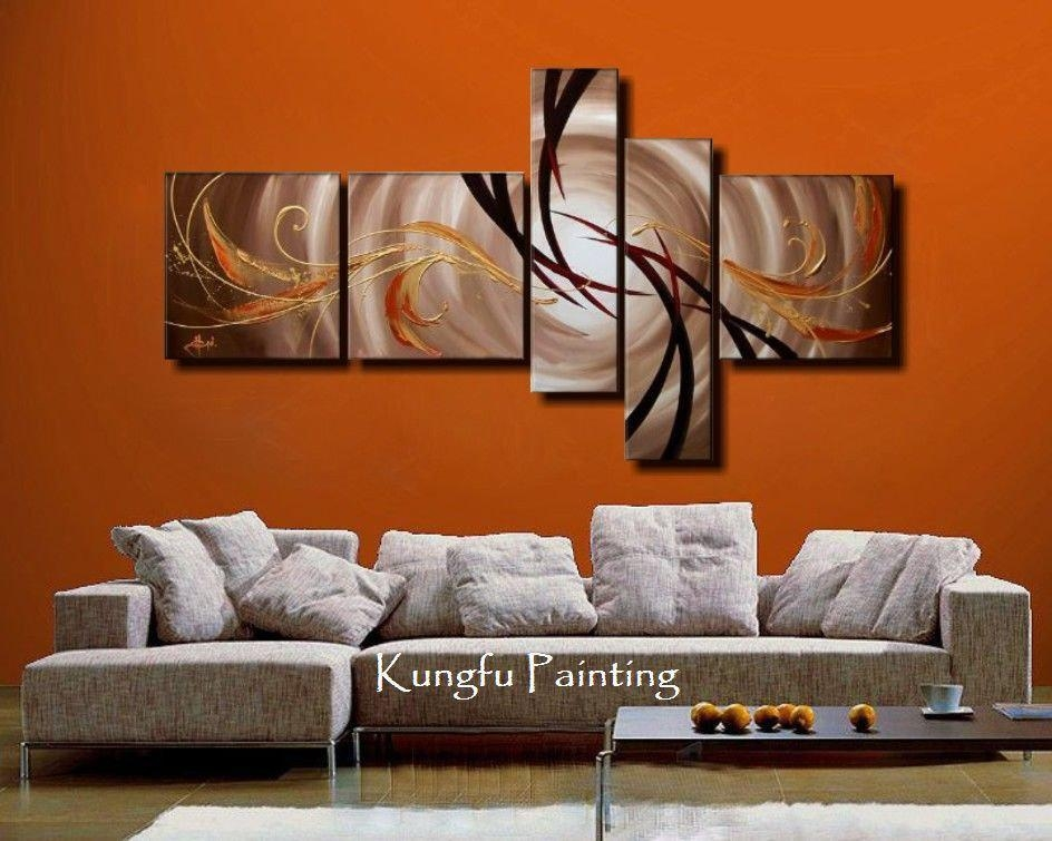 100% Hand Painted Unframed Abstract 5 Panel Canvas Art Living Room With Regard To Abstract Wall Art For Living Room (Image 3 of 20)
