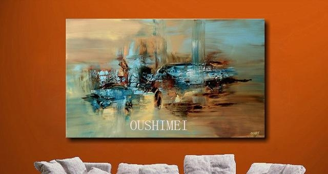 100% Handmade Abstract Oil Painting Large Wall Art On Canvas High Throughout Abstract Oil Painting Wall Art (Image 1 of 20)