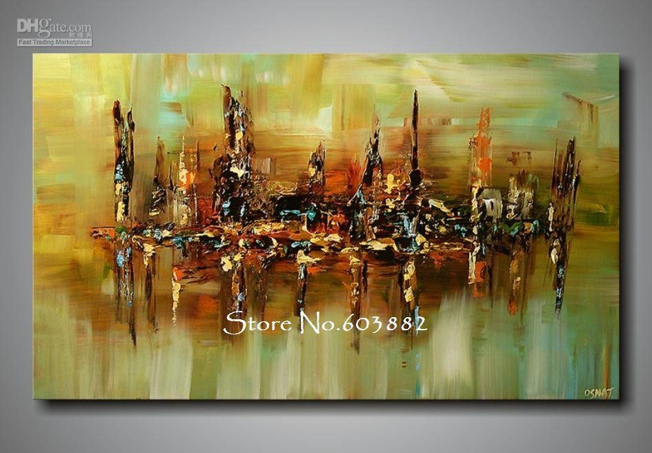 100% Handpainted Abstract Canvas Wall Art High Quality Home Inside Large Abstract Canvas Wall Art (View 2 of 20)
