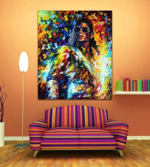 100% Handpainted Michael Jackson Jazz Music Guitarist Figure Pertaining To Michael Jackson Canvas Wall Art (View 19 of 20)