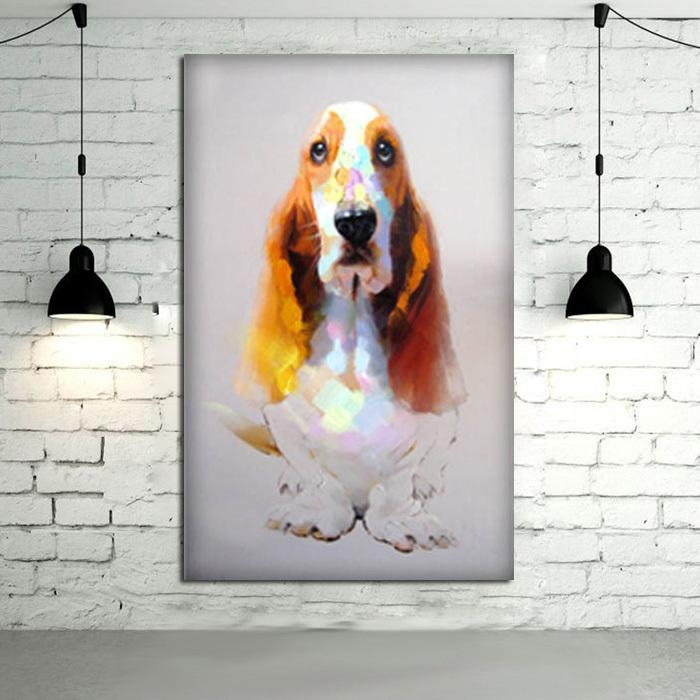 100%handpainted Modern Art Good Quality Animal Oil Painting Wall With Regard To Dogs Canvas Wall Art (Image 1 of 20)