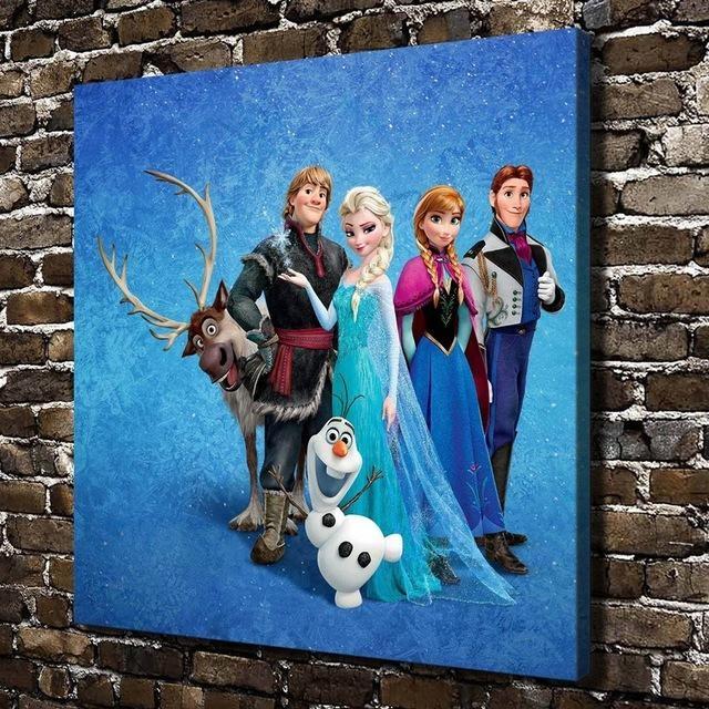 11212 Elsa Anna Kristoff Hans Children Cartoon,hd Canvas Print Regarding Elsa Canvas Wall Art (Image 1 of 20)