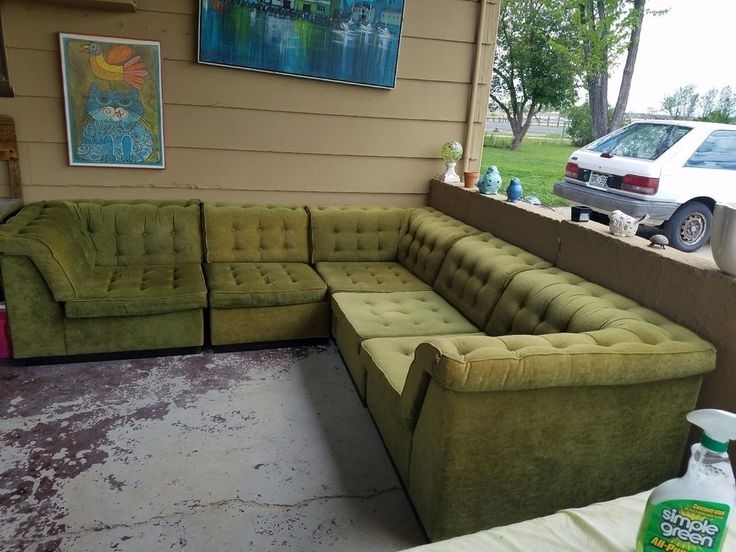 116 Best Vintage Sectionals Images On Pinterest | Sectional Sofas Within Green Sectional Sofas (Image 1 of 10)