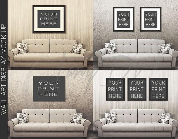 11X14 22X28 33X42 White Sofa Wall Interior 1 Black Frames Pertaining To Mockup Canvas Wall Art (Image 1 of 20)