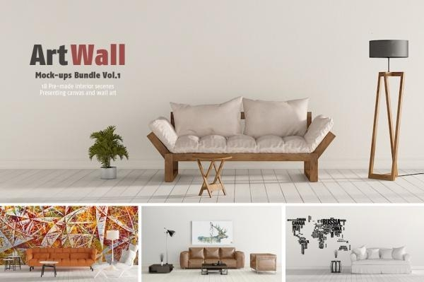 15+ Wall Art Mockups | Freecreatives Regarding Mockup Canvas Wall Art (Image 4 of 20)