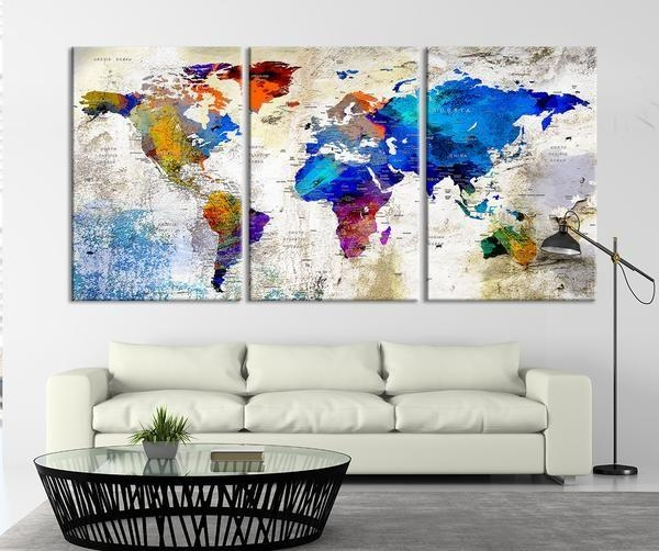 17 Best Large Wall Art World Map Canvas Print Images On Pinterest Pertaining To Maps Canvas Wall Art (Image 1 of 20)