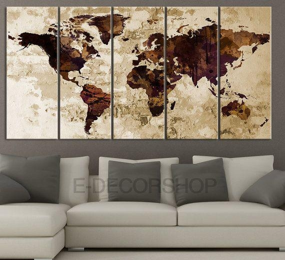 17 Best Large Wall Art World Map Canvas Print Images On Pinterest With Maps Canvas Wall Art (Image 2 of 20)
