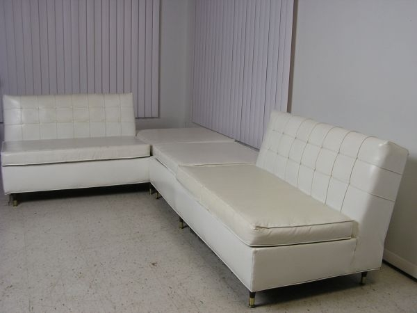 1960's Mid Century Modern White Vinyl Sectional Sofa Retro Couch Within Evansville In Sectional Sofas (Image 1 of 10)