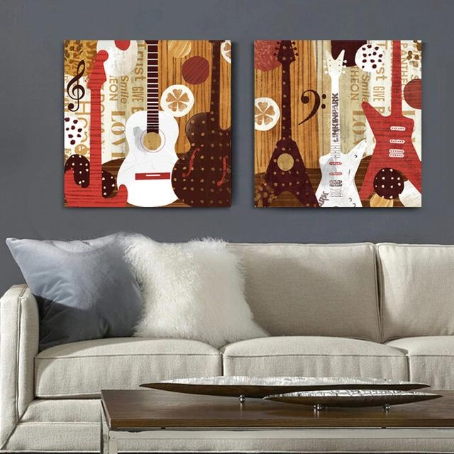 2 Panel Illustration Style Guitar Music Canvas Wall Art Home Intended For Music Canvas Wall Art (View 5 of 20)