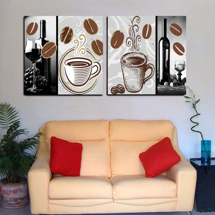 2 Panel Modern Home Decor Abstract Coffee Painting Set Canvas Regarding Coffee Canvas Wall Art (Image 2 of 20)