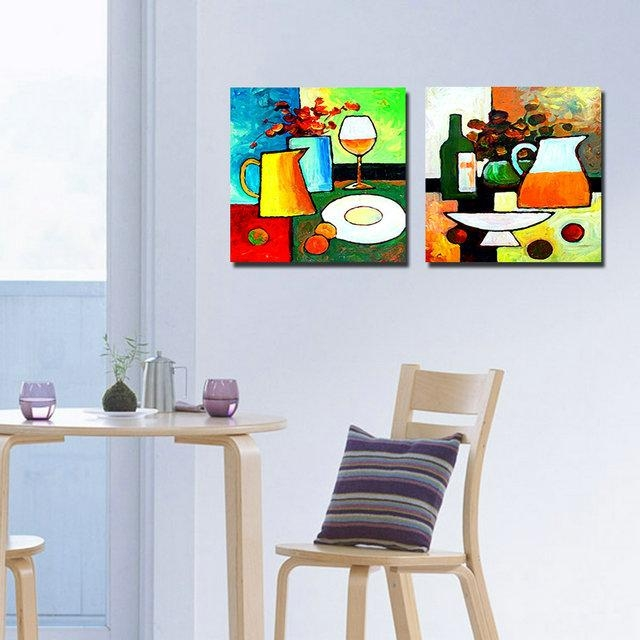 2 Panel Modern Paintings Kitchen Art Cuadros Decoracion Flowers Within Abstract Kitchen Wall Art (Image 1 of 20)