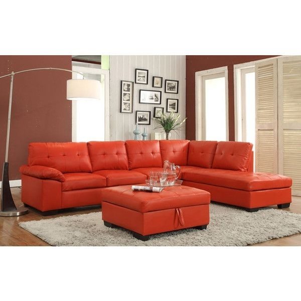 2 Pc Emily Ii Collection Red Faux Leather Sectional Sofa Set With Throughout Red Faux Leather Sectionals (Image 1 of 10)