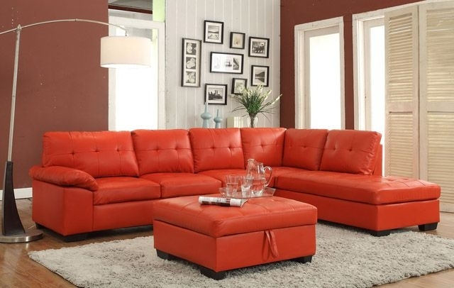 2 Pc Emily Ii Collection Red Faux Leather Sectional Sofa Set With With Regard To Red Faux Leather Sectionals (Image 2 of 10)