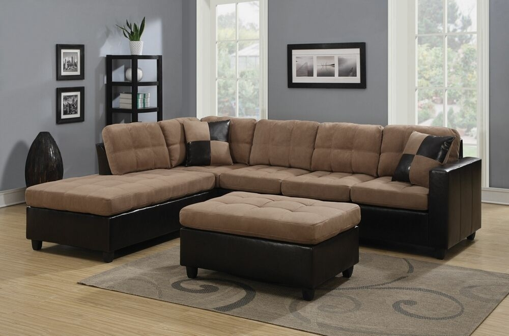 2 Pc Mallory Collection 2 Tone Tan Microfiber Fabric And Leather Pertaining To Leather And Suede Sectional Sofas (Image 1 of 10)