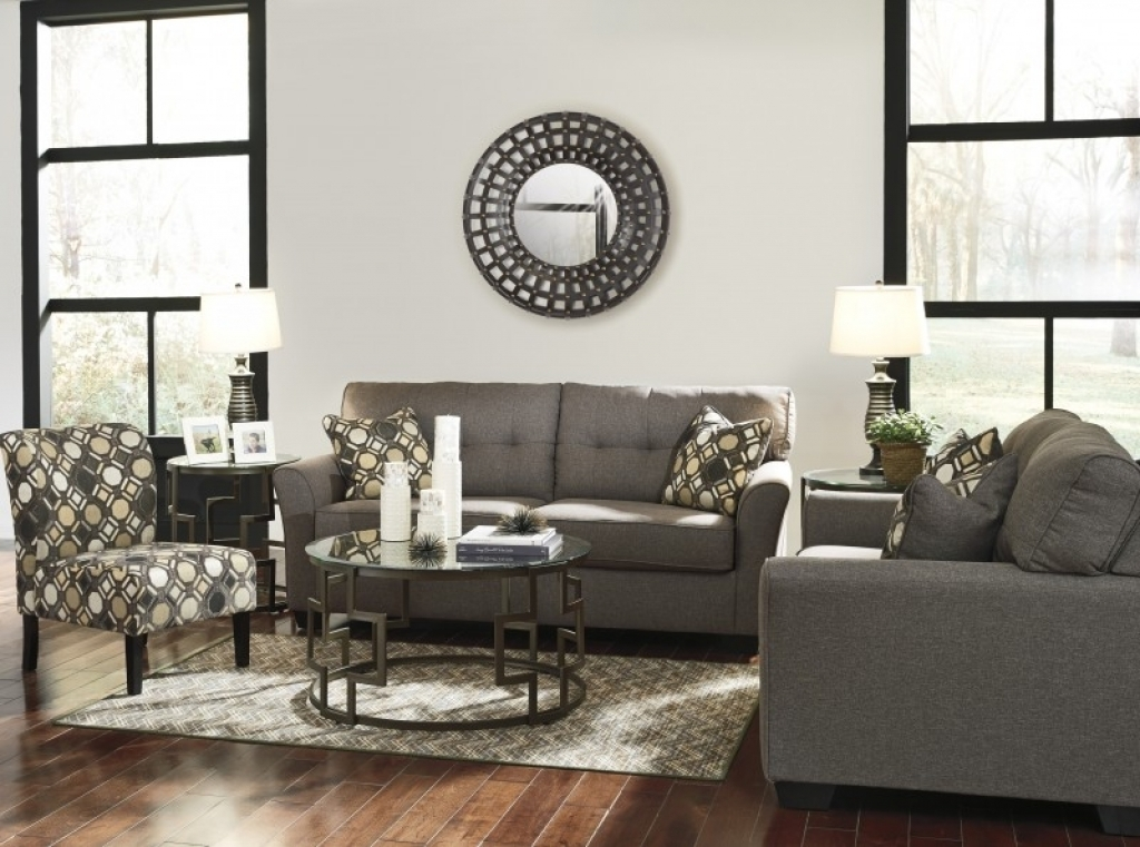 2 Pc Tibbee Slate Sofa Loveseat Set 99101 Ashley Sofa And Accent Within Sofa And Accent Chair Sets (Image 1 of 10)