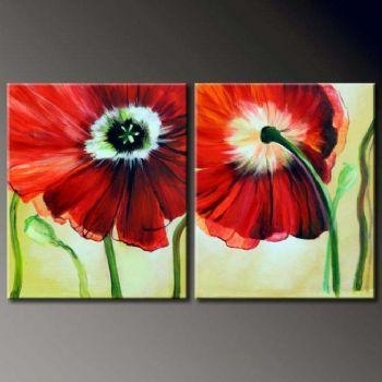 2 Pcs Floral Canvas Wall Art : Cheap Oil Paintings|Paintings For With Regard To Canvas Wall Art Pairs (View 5 of 20)