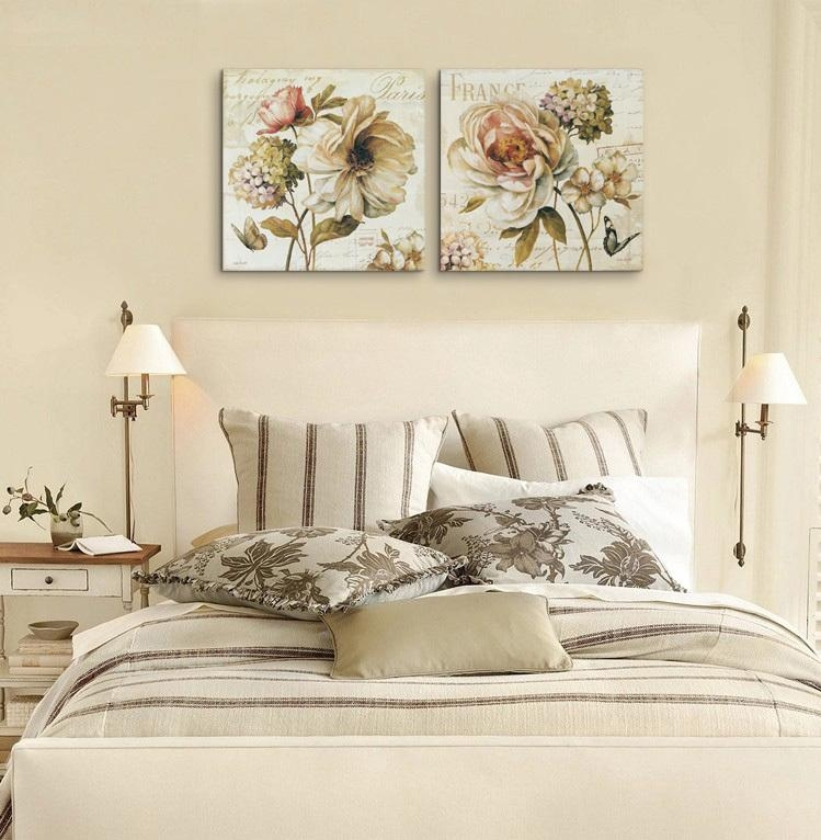 2 Pieces Chinese Rose Vintage Flowers Painting Canvas Prints Wall Throughout Retro Canvas Wall Art (Image 1 of 20)