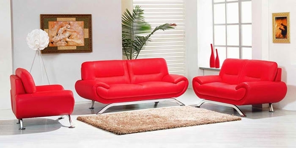 20 Ravishing Red Leather Living Room Furniture | Home Design Lover With Red Leather Couches For Living Room (Image 1 of 10)