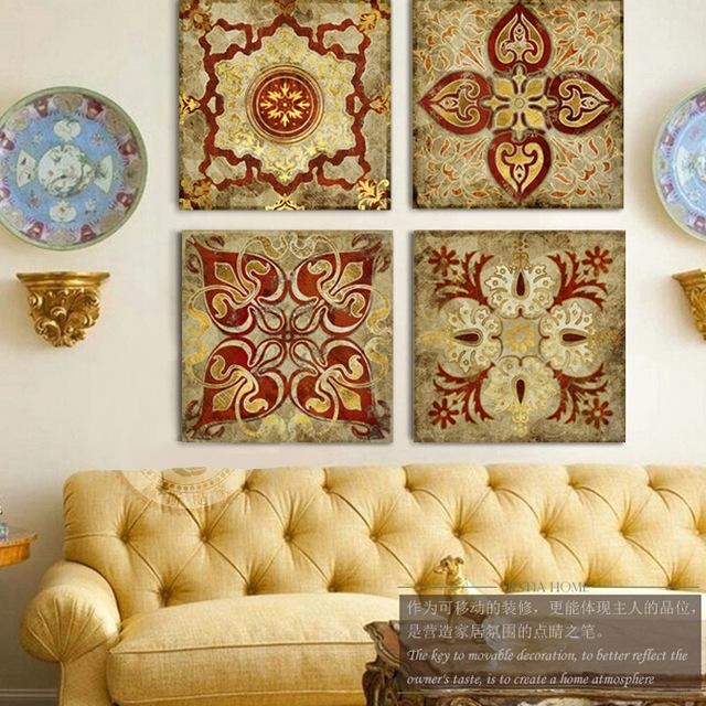 2015 India Gold Retro Ethnic Patterns Canvas Wall Art Home With India Canvas Wall Art (Image 2 of 20)