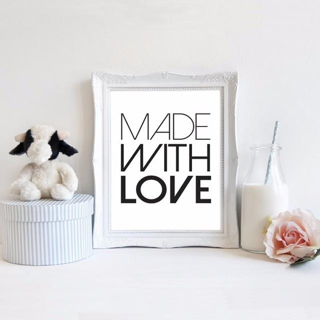 2016 New Printable Made With Love Art Quotes Print Canvas Wall Art With Regard To Modern Nursery Canvas Wall Art (View 3 of 20)