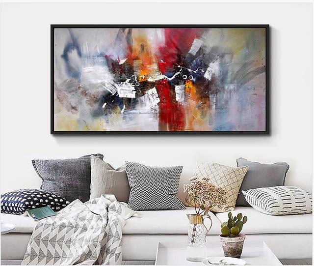 2017 100% Hand Painted Large Size Abstract Wall Art Canvas Mural Regarding Murals Canvas Wall Art (Image 1 of 20)