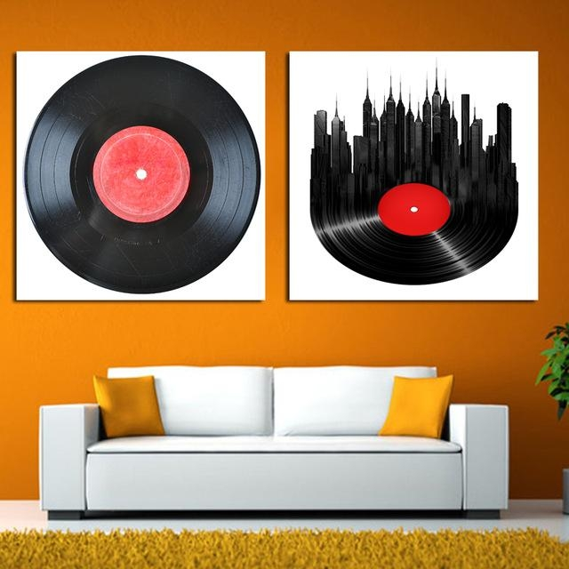 2017 2Pcs/set Music Disc Phonograph Modular Wall Paintings Retro Inside Retro Canvas Wall Art (Image 2 of 20)