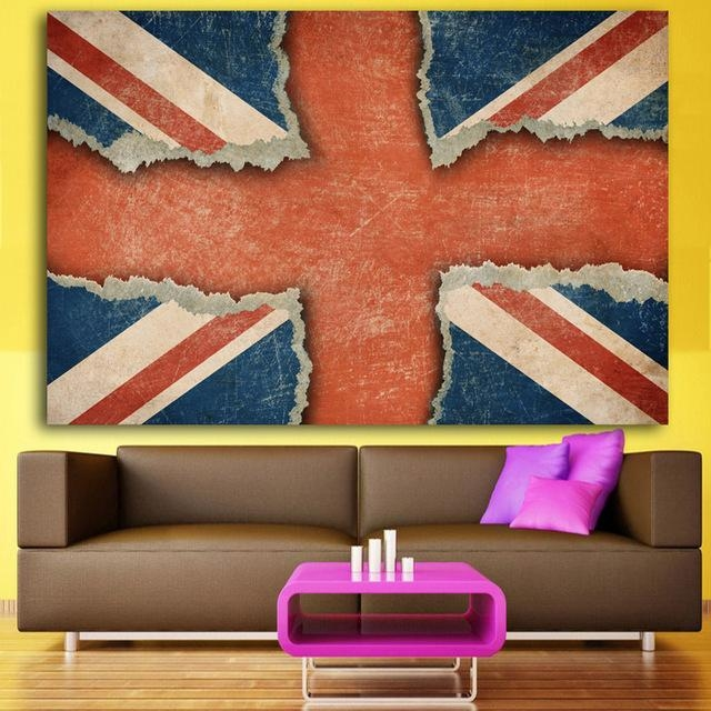 2017 Canvas Wall Art Printed Union Jack Uk Flag Painting Within Union Jack Canvas Wall Art (View 6 of 20)