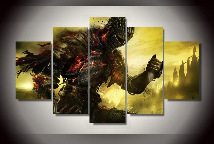 2017 Top Fashion Real No Fallout 5 Piece The Dark Knight Within Gaming Canvas Wall Art (Image 1 of 20)