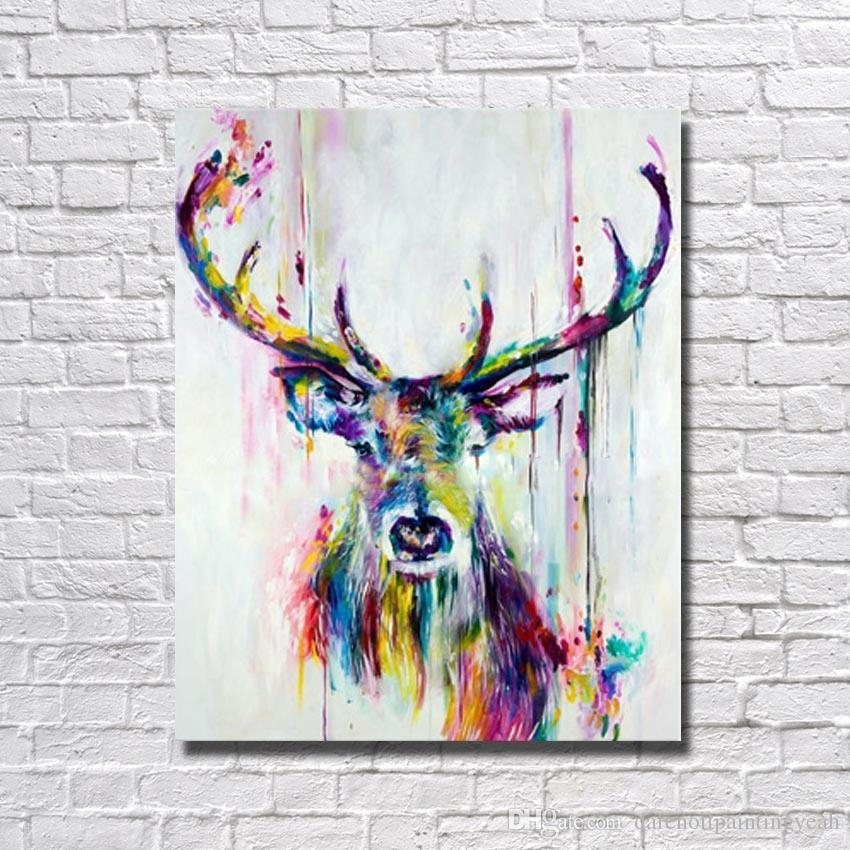 2018 1Peices Wall Canvas Art Abstract Deer Painting Living Room Throughout Deer Canvas Wall Art (View 5 of 20)