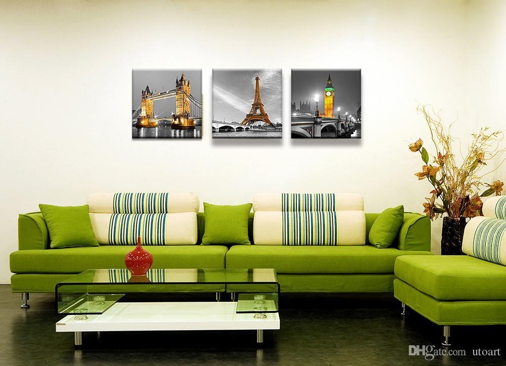 2018 3 Panels Green London Paris Landscape Canvas Painting Home With Modern Canvas Wall Art (Image 1 of 20)