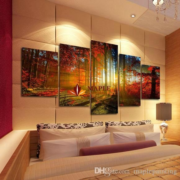 2018 5 Panel Forest Painting Canvas Wall Art Picture Home For Large Canvas Wall Art (Image 1 of 20)