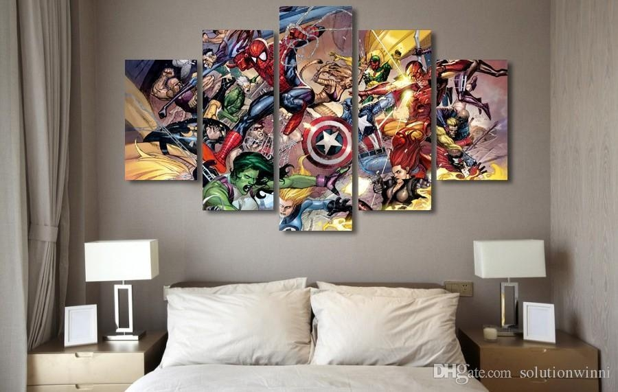 2018 5 Panel Hd Printed Marvel Action Fighting Painting Canvas Within Marvel Canvas Wall Art (Photo 3 of 20)