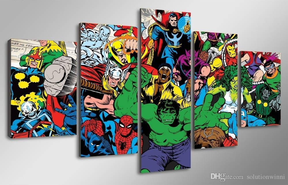 2018 5 Panel Hd Printed Marvel Avengers Hulk Spider Man Painting Throughout Marvel Canvas Wall Art (Photo 1 of 20)