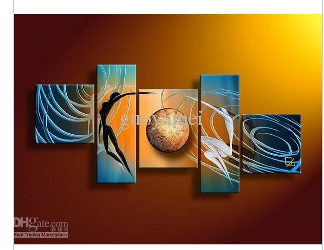 2018 5 Panel Wall Art People Love Story Blue Oil Painting On For Blue And Brown Canvas Wall Art (View 8 of 20)