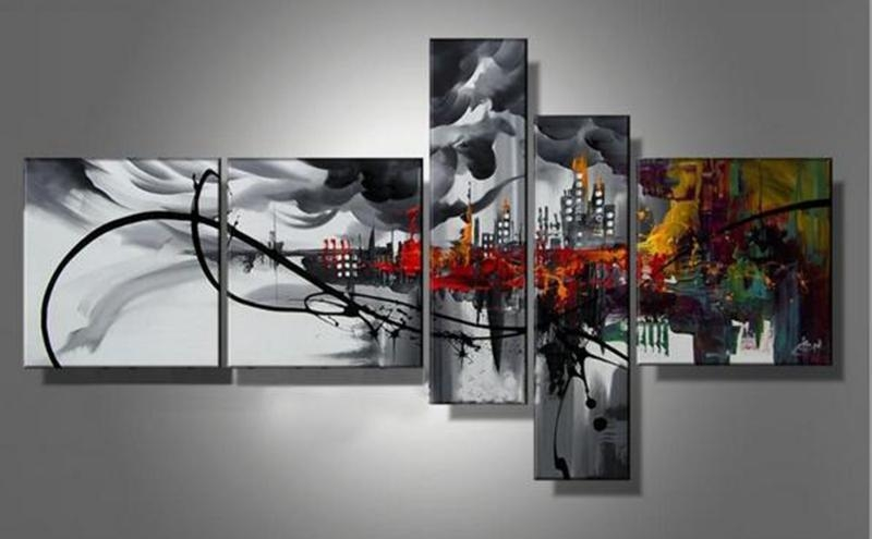 2018 5 Panels Handpainted Abstract Cityscape Building Oil Canvas Pertaining To Murals Canvas Wall Art (Image 2 of 20)