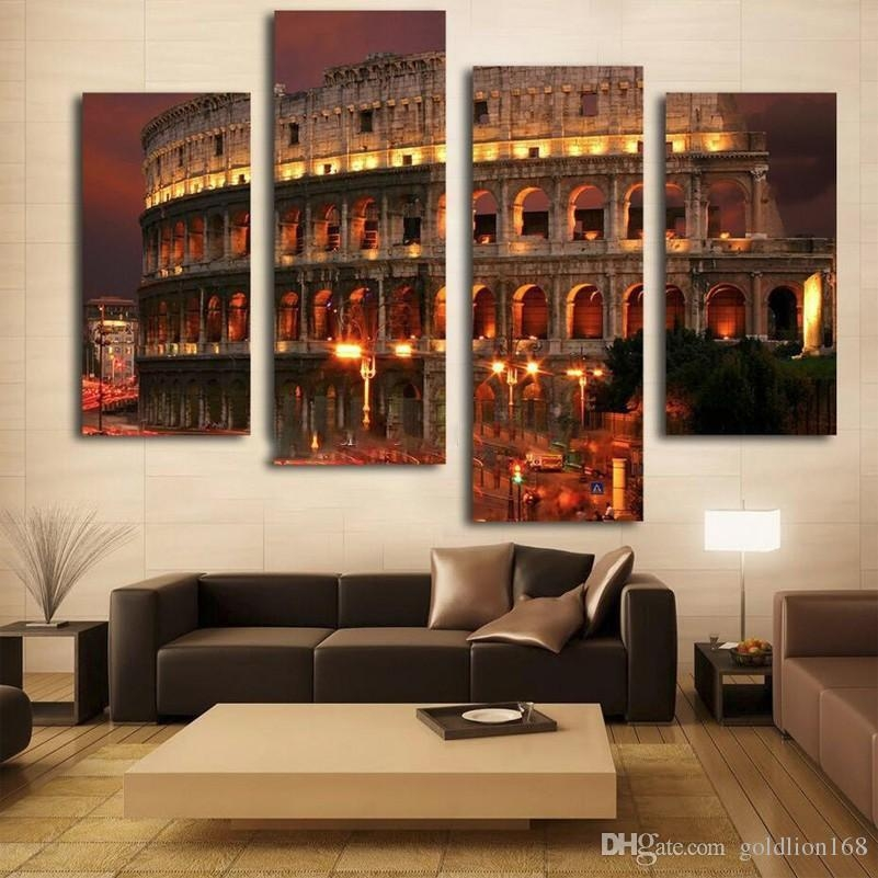 2018 Ancient Rome Famous Building Oil Painting Wall Art Home With Regard To Canvas Wall Art Of Rome (Photo 2 of 20)