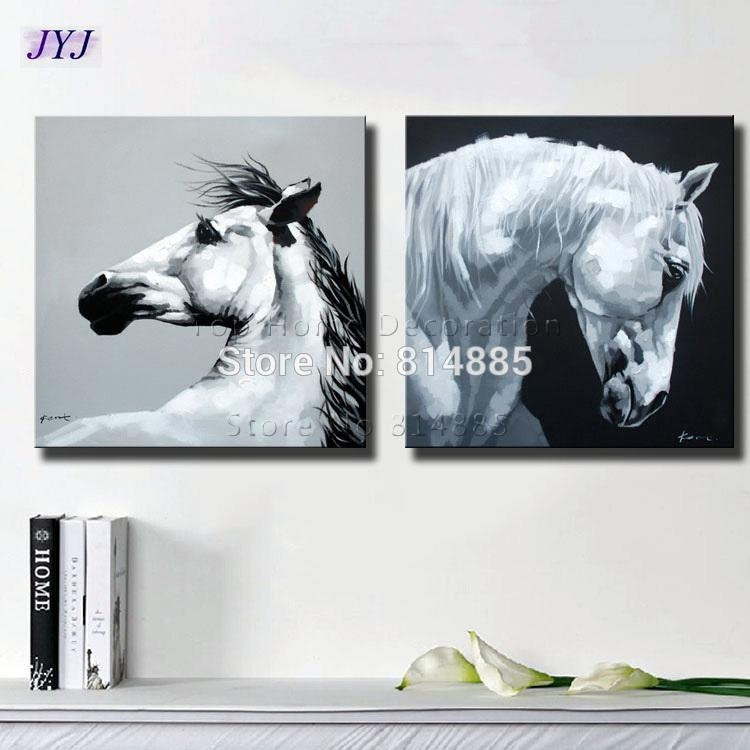 2018 Black White Horses Canvas Art Wall Picture For Living Room Inside Horses Canvas Wall Art (Image 3 of 20)