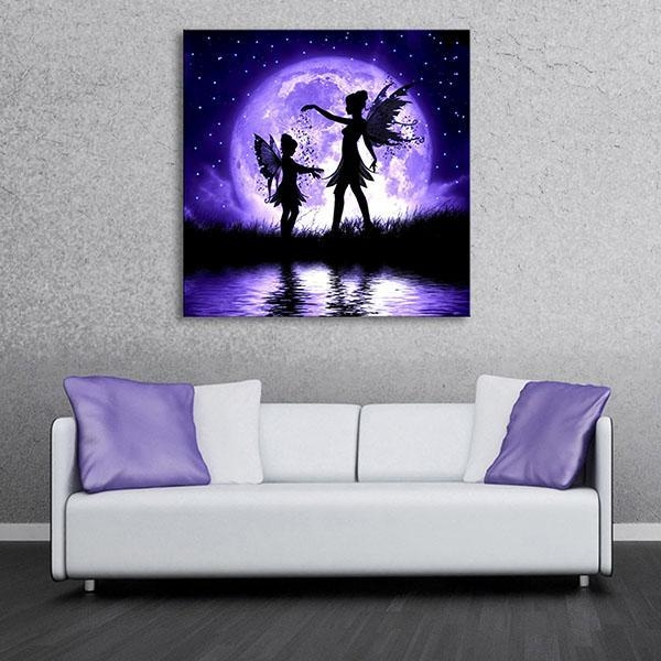 2018 Butterfly Fairy Led Flashing Canvas Wall Art Paintings Lights Pertaining To Canvas Wall Art In Purple (Image 1 of 20)