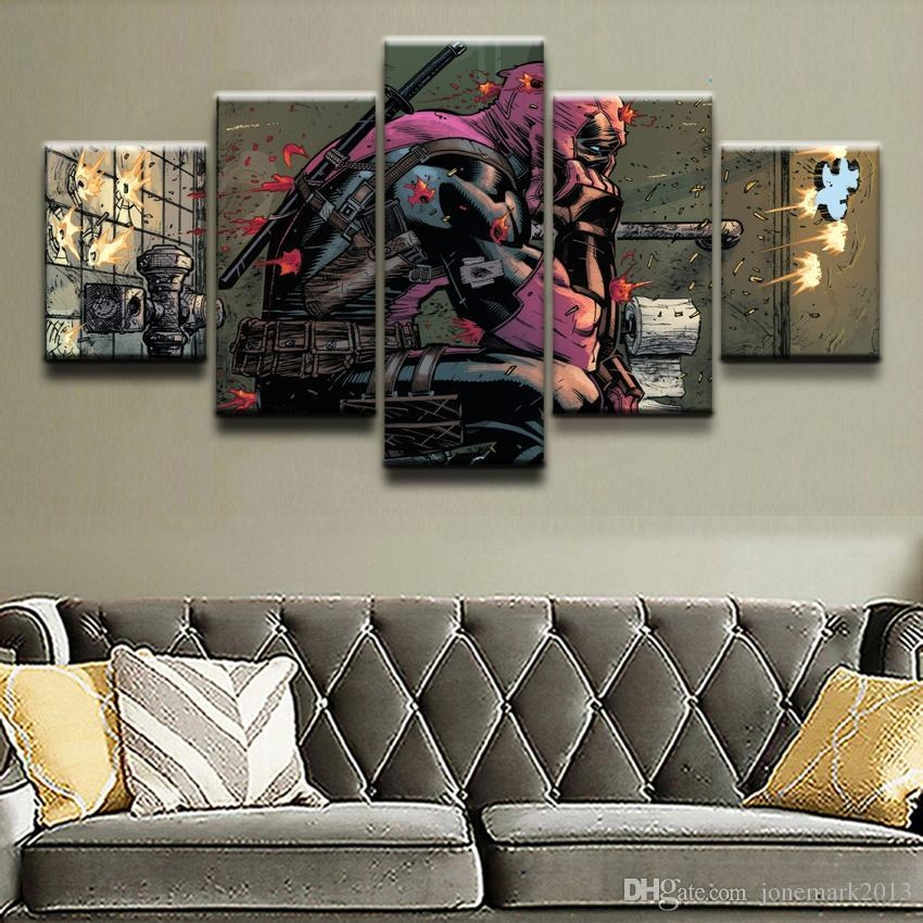 2018 Canvas Prints Paintings Framework Boys Room Decor Deadpool Intended For Marvel Canvas Wall Art (Image 3 of 20)