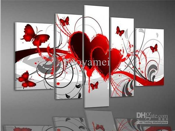 2018 Group Wall Art Red Heart Love Butterfly Oil Painting On With Canvas Wall Art In Red (Image 1 of 20)