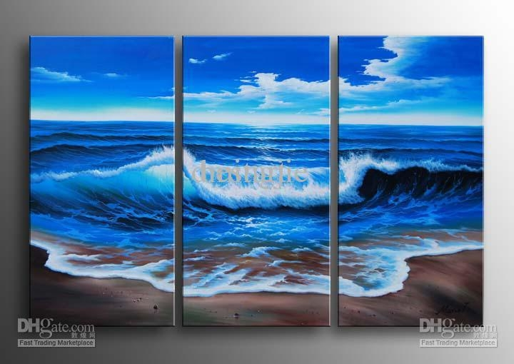 2018 Hand Painted Wall Art Blue Ocean Landscape Oil Paintings On In Ocean Canvas Wall Art (Photo 8 of 20)