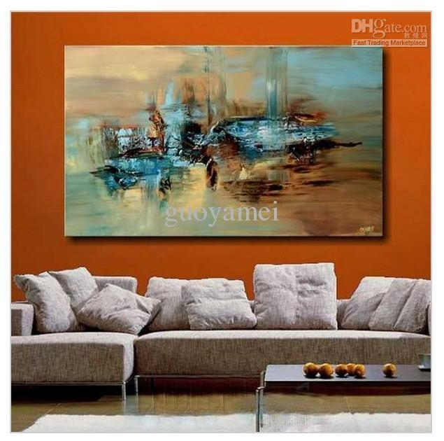 2018 Handmade Large Modern Abstract Oil Painting Wall Art On In Large Abstract Canvas Wall Art (Image 3 of 20)