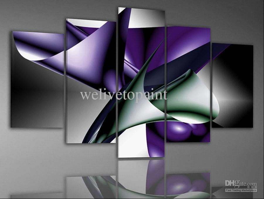 2018 In Stock! Framed 5 Panels High End Canvas Painting Modern Art Inside Canvas Wall Art In Purple (Image 2 of 20)